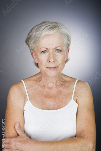A senior woman looking annoyed