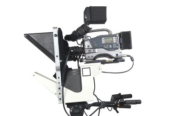 Professional video camera with teleprompter,  isolated on white