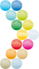 Colorful Calendar for year 2010 in a circles theme