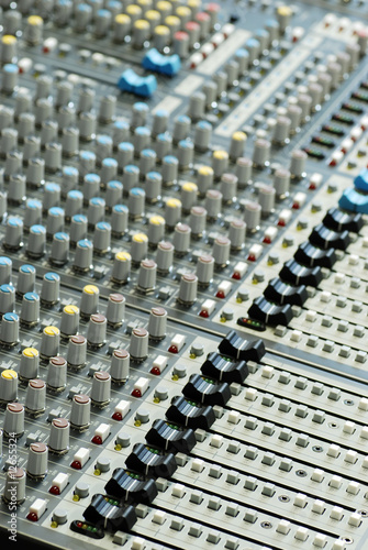 sound board mixer with shallow depth of field