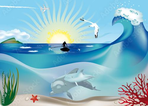 Staande foto Vliegtuigen, ballon delfini con pescatore