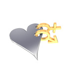 Gold sex symbols linked with heart.