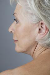 A senior woman's face in profile