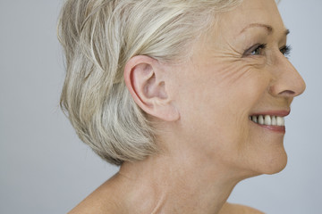 A portrait of an attractive senior woman, smiling