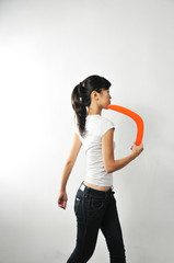 Woman With Boomerang