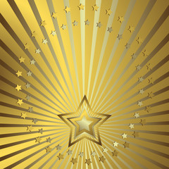 Golden background with silvery beams and stars