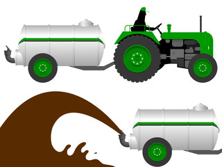Tractor with liquid manure tanker