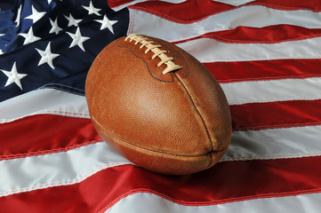 Football againsta USA flag