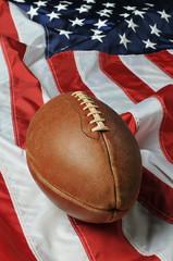 Football against an American flag