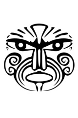 A tribal black Maori face tattoo