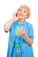 Senior Woman Enjoying Tunes