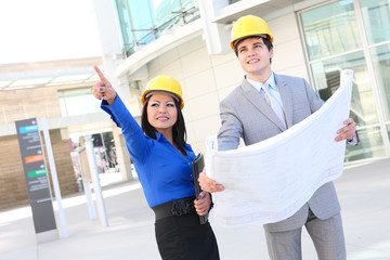 Attractive Architects on Building Construction Site
