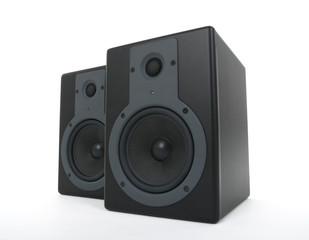 Pair of black loud speakers