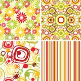 Set of retro seamless pattern backgrounds