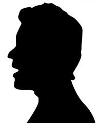 profil d'homme bouche ouverte