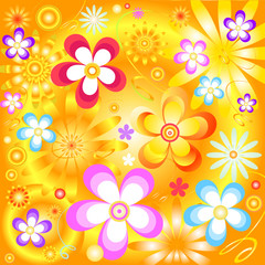 Abstract  yellow  floral background (vector)