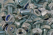 close up nuts bolts washers
