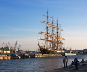 Summer evening on big river, St. Petersburg