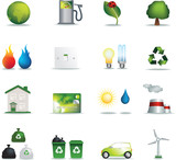 Eco icons realistic poster