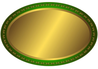 Oval metal volumetric plate (vector)