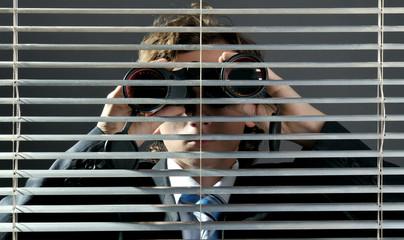 Watching through binoculars