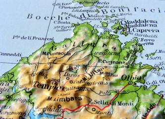 Carta geografica della Sardegna