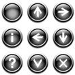 Black buttons with signs. Vector.
