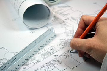Architect Working With Blueprints 2