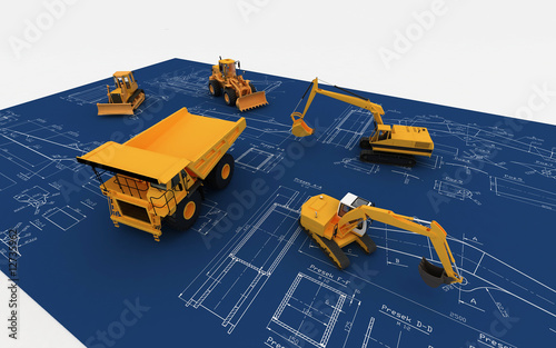 Yellow Loader and Dump and blue sketch
