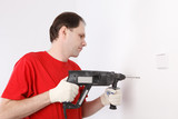 Man with power drill poster