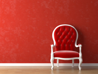 red and white interior design