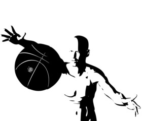 cyber boy with basket ball isolated on a white background