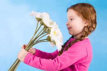Admiring flowers