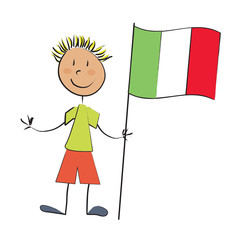 enfant drapeau italie