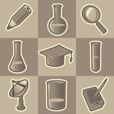 Monochrome science icons poster