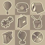 Monochrome miscellaneous icons poster