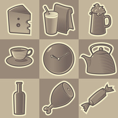 Monochrome food icons