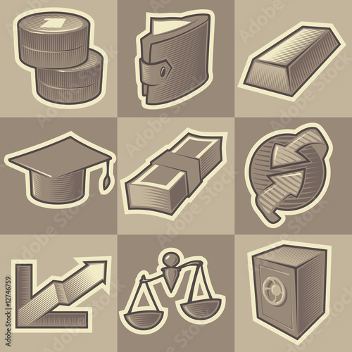 Monochrome finance icons