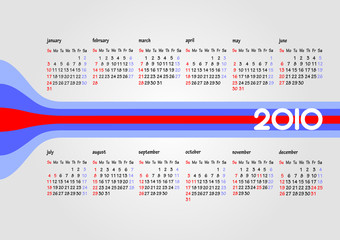 Calendar 2010 with American holiday. Months