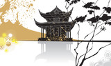 Chinese pagoda abstract background, traditional painting, vector