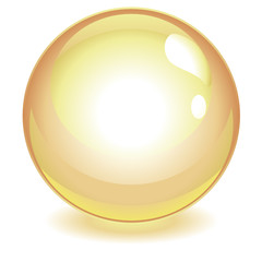 Sphère jaune avec reflets dorés vectorielle
