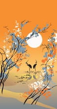 Four seasons: autumn, in Chinese traditional painting style