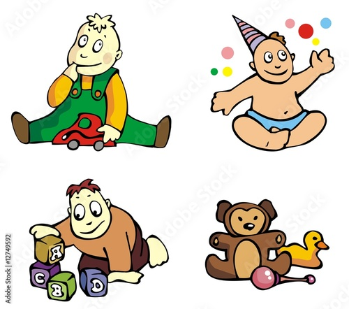 Set of cartoon drawing of playing babies, vector illustration