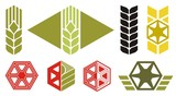 Set of agriculture icons, ear of wheat, vector poster