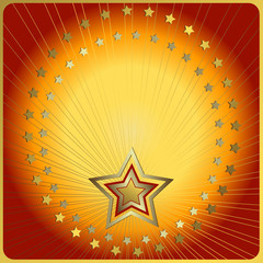 Red and yellow background with  beams and stars