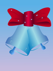 two vector christmas bells with red bow