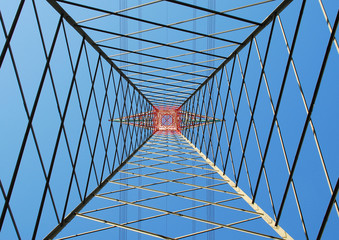 Electric pylon seen from below