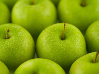 Wet Green Apple Background