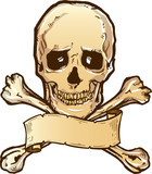 Skull crossbones and banner illustration poster