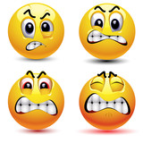 Smiling balls with different face expression of anger poster
